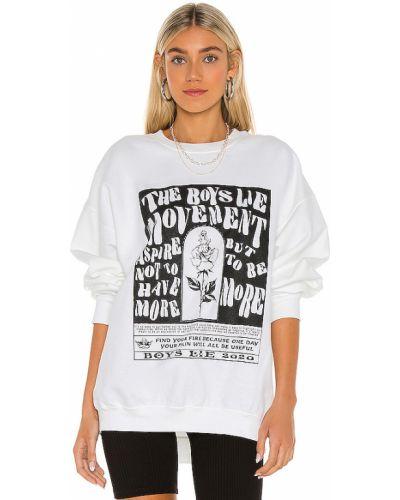 Biała bluza bawełniana z printem Boys Lie