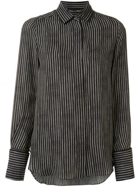 Шелковая черная рубашка с воротником Oscar De La Renta
