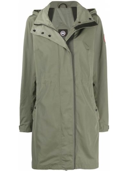 Зеленое пальто классическое с капюшоном с длинными рукавами Canada Goose