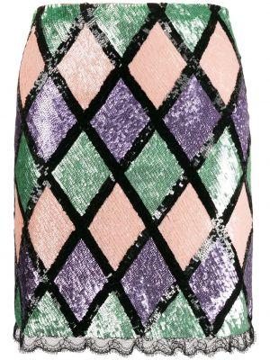 Кружевная черная плиссированная юбка мини Blumarine