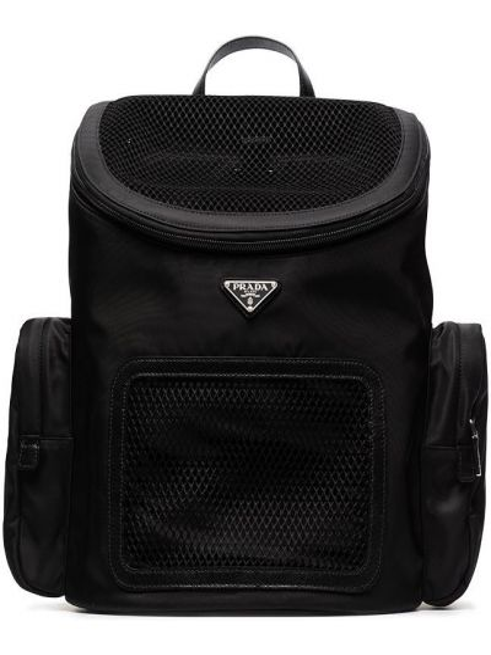 Czarny plecak z nylonu z siateczką Prada