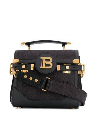 Bawełna skórzany czarny torba na ramię z kieszeniami Balmain