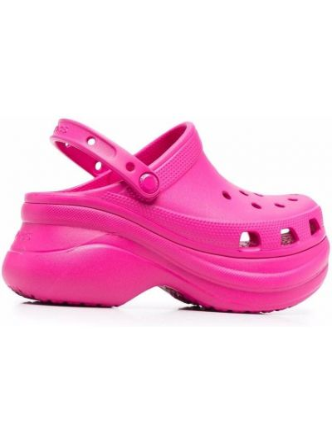 Розовые сабо на платформе Crocs