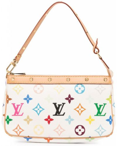Белая кожаная сумка-тоут на молнии Louis Vuitton