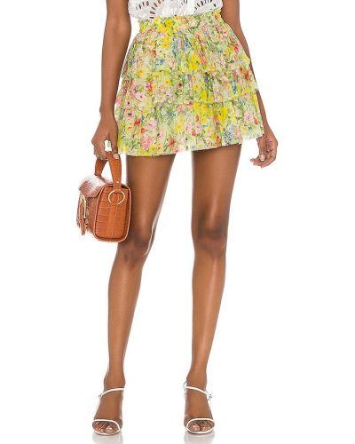 Żółta spódnica elegancka z wiskozy Loveshackfancy