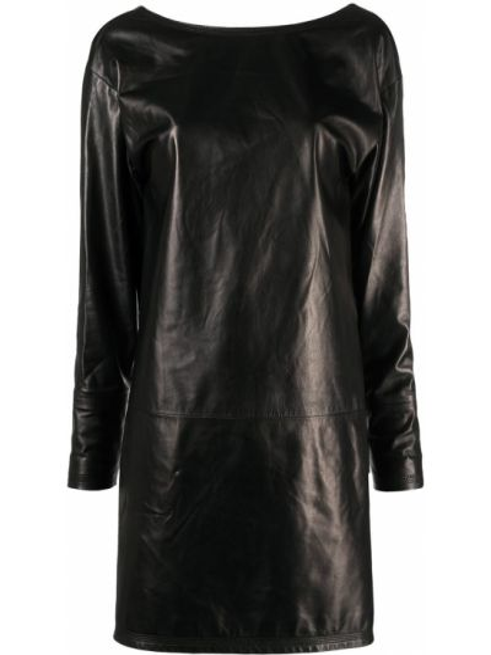 Кожаное черное платье макси с вырезом Dsquared2