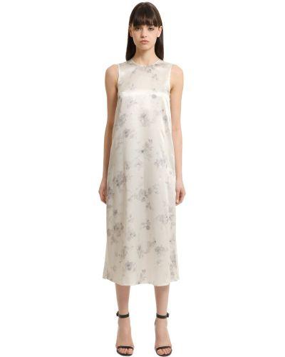 Платье в цветочный принт - белое Calvin Klein Collection