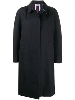 Однобортное синее пальто классическое с воротником Thom Browne