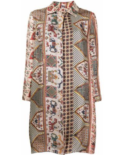 Шелковое пальто классическое с воротником на пуговицах Pierre-louis Mascia