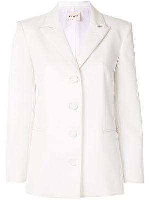 Однобортный приталенный белый удлиненный пиджак Khaite