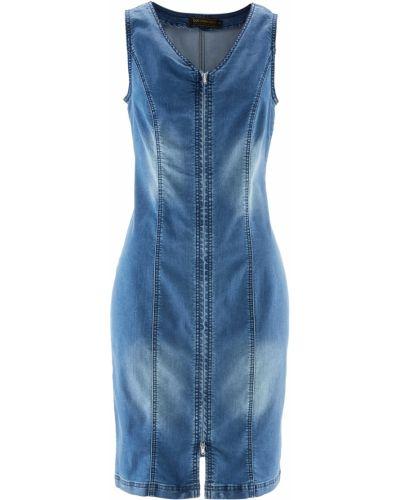 Джинсовое платье с V-образным вырезом на молнии Bonprix