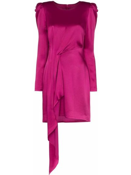 Różowa satynowa sukienka mini z długimi rękawami Haney