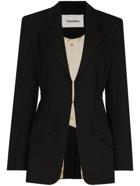 Черный удлиненный пиджак с карманами на пуговицах Nanushka