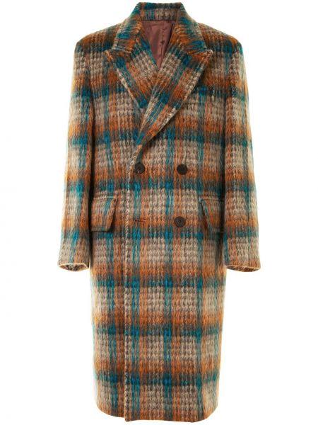 Оранжевое шерстяное длинное пальто с лацканами с карманами Wooyoungmi