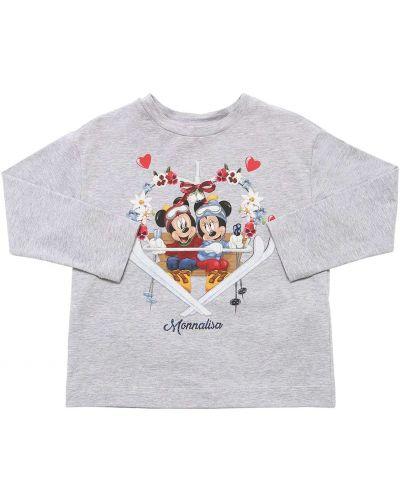 С рукавами серая футболка с круглым вырезом круглая Monnalisa