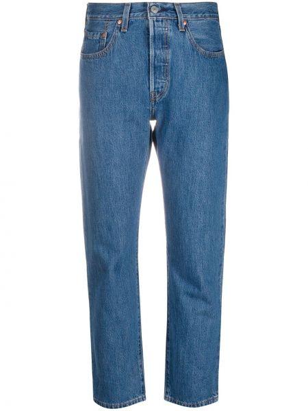 С завышенной талией хлопковые синие укороченные джинсы на пуговицах Levi's®