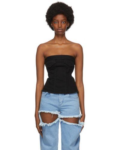 Niebieski jeansy z kieszeniami bez rękawów z falbankami Marques Almeida