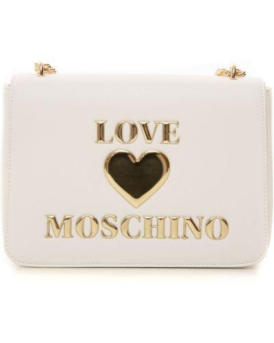 Biała kopertówka z printem Love Moschino