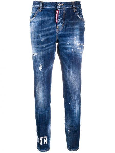 Хлопковые синие джинсы классические с карманами Dsquared2