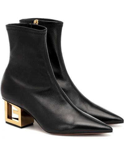 Złoty czarny buty na pięcie z prawdziwej skóry na pięcie Givenchy