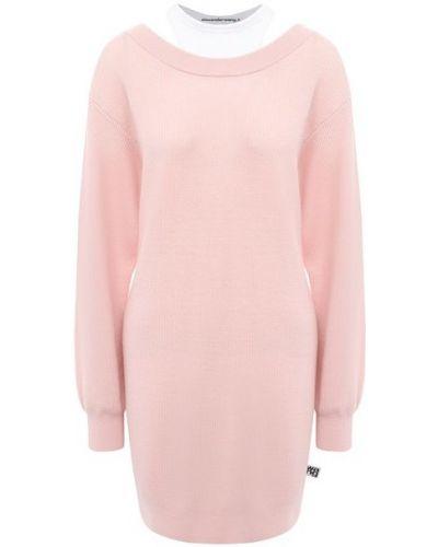 Шерстяное розовое платье с декоративной отделкой Alexanderwang.t