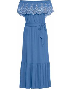 Платье с поясом на торжество с оборками Bonprix