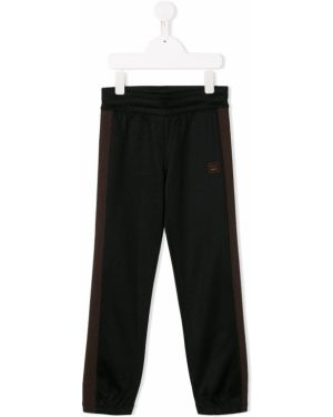 Czarne spodnie bawełniane z haftem Acne Studios Kids