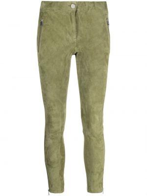 Зеленые кожаные укороченные брюки на молнии Arma