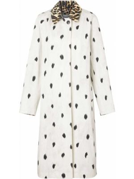 Белое кожаное пальто с капюшоном Burberry