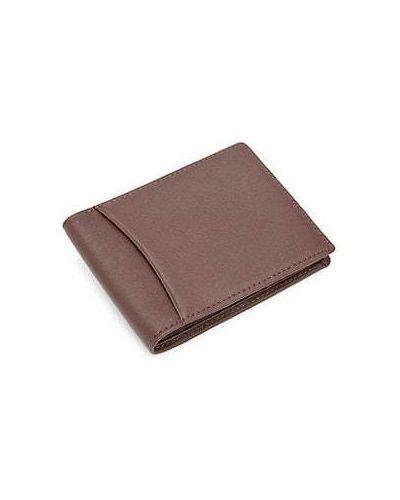 Коричневый кожаный кошелек с карманами Royce New York