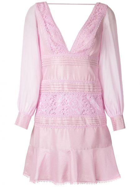 Шелковое розовое платье мини с V-образным вырезом на молнии Martha Medeiros