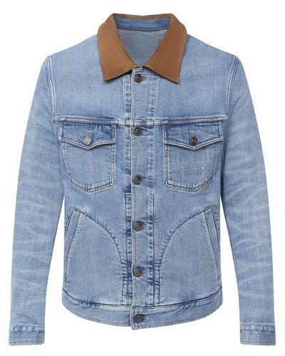 Синяя кожаная джинсовая куртка с декоративной отделкой Brioni