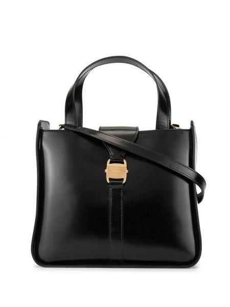 Золотистая черная кожаная сумка на молнии с карманами Salvatore Ferragamo Pre-owned