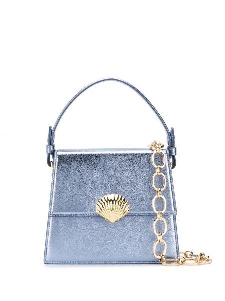 Niebieska torebka na łańcuszku skórzana Rixo