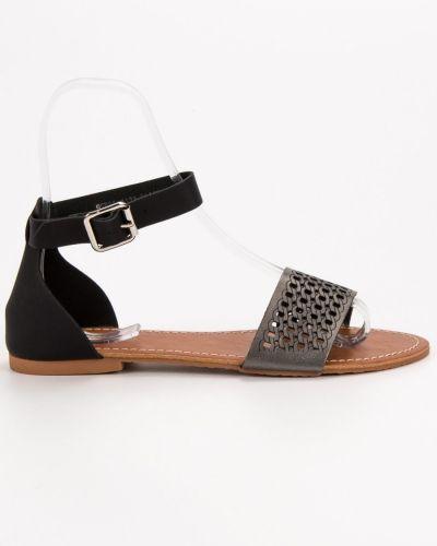 Ażurowe czarne sandały Evento