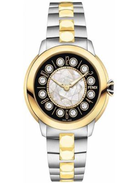 Czarny szwajcarski zegarek z klamrą pozłacany metal Fendi