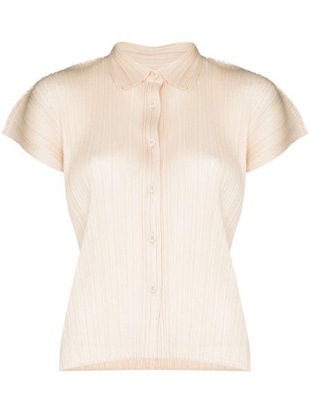 Beżowa koszula krótki rękaw Pleats Please Issey Miyake