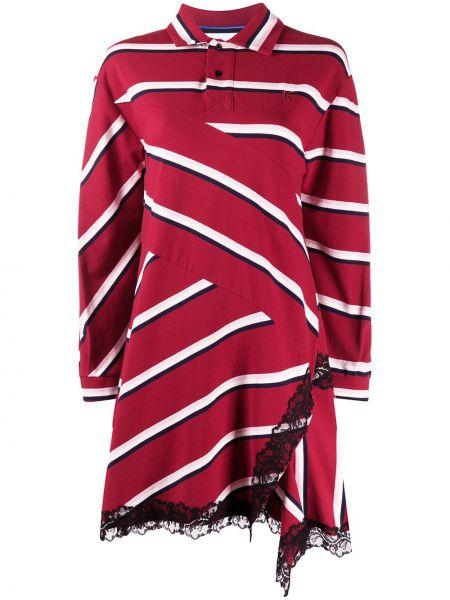Свободное красное кружевное платье макси Koché