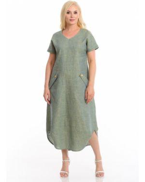 Свободное платье миди на пуговицах с разрезами по бокам свободного кроя Merlis
