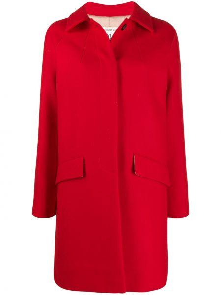 Красное пальто классическое с капюшоном с воротником Semicouture
