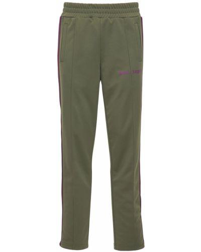 Zielony spodnie w paski z boku na gumce z paskami Palm Angels