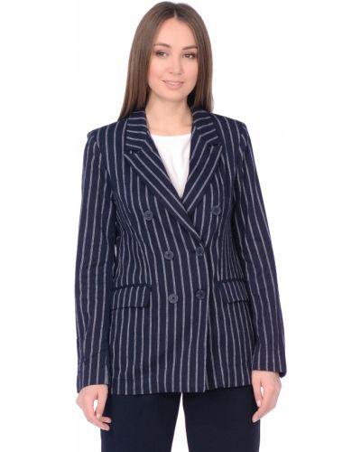 Прямой синий пиджак в полоску Baon