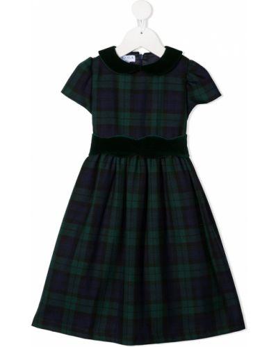 Зеленое платье мини с воротником на молнии с короткими рукавами Siola