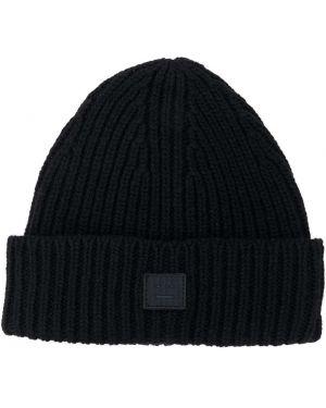 Czarny kapelusz wełniany z haftem Acne Studios Kids