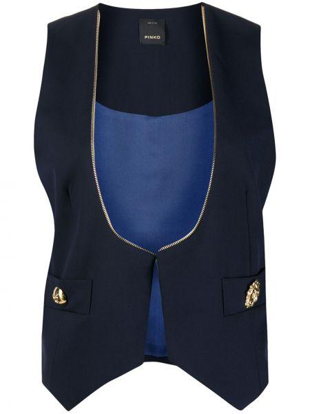 Синяя жилетка на пуговицах из вискозы Pinko
