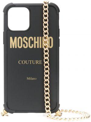 Czarny złoty łańcuch ze złota z printem Moschino