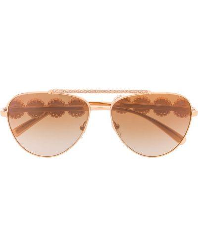 Золотистые розовые солнцезащитные очки металлические Versace Eyewear