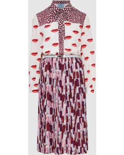 Бежевое платье миди Prada