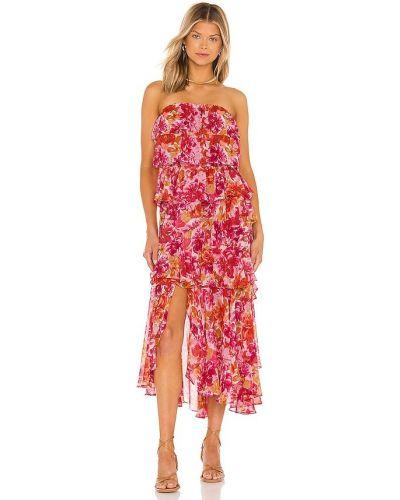 Розовое текстильное платье с разрезом с декольте Misa Los Angeles