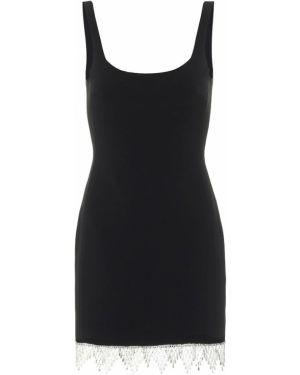 Черное платье мини из вискозы David Koma